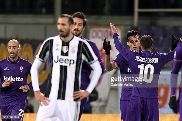 Nikola Kalinic of ACF Fiorentina celebrates after scoring a goal during the Serie A match between ACF Fiorentina and Juventus FC at Stadio Artemio...