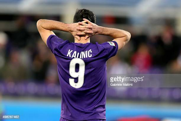 Nikola Kalinic of ACF Fiorentina reacts during the Serie A match between ACF Fiorentina and Empoli FC at Stadio Artemio Franchi on November 22 2015...
