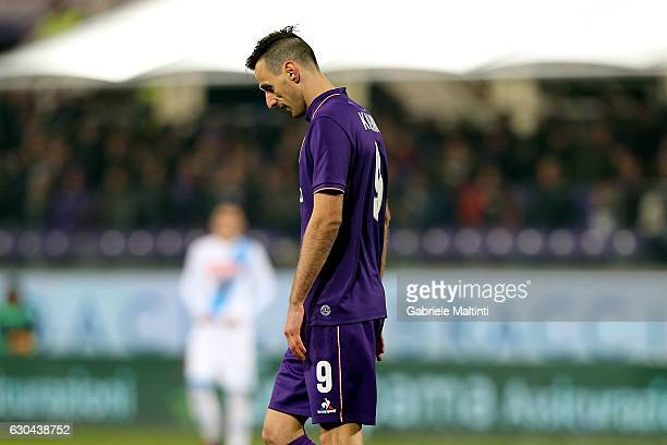 Nikola Kalinic of ACF Fiorentina reacts during the Serie A match between ACF Fiorentina and SSC Napoli at Stadio Artemio Franchi on December 22 2016...