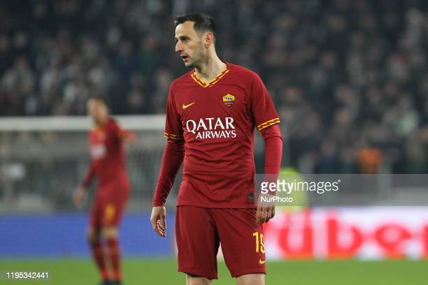 Nikola Kalinic of AS Roma during the Italian Cup quarter-finals between Juventus FC and AS Roma at Allianz Stadium on January 22, 2020 in Turin,...