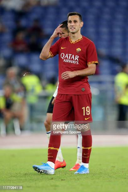 Nikola Kalinic of AS Roma gestures during the Serie A match between AS Roma and Atalanta BC at Stadio Olimpico on September 25, 2019 in Rome, Italy.