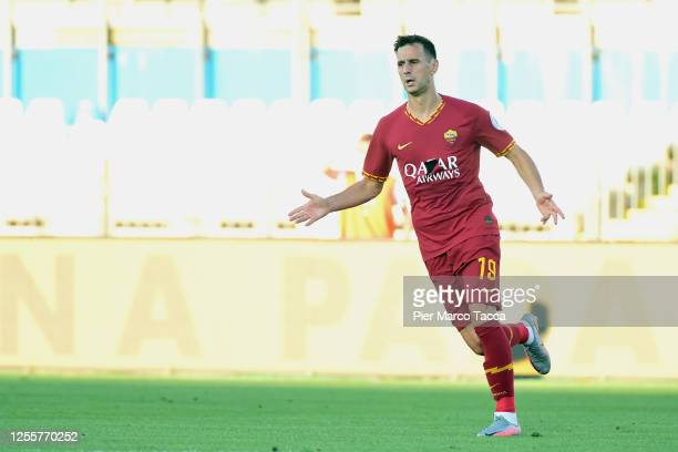 Nikola Kalinic of AS Roma gestures during the Serie A match between Brescia Calcio and AS Roma at Stadio Mario Rigamonti on July 11, 2020 in Brescia,...