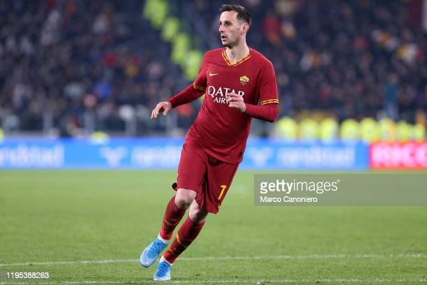Nikola Kalinic of As Roma in action during the Coppa Italia match between Juventus Fc and As Roma. Juventus Fc wins 3-1 over As Roma.
