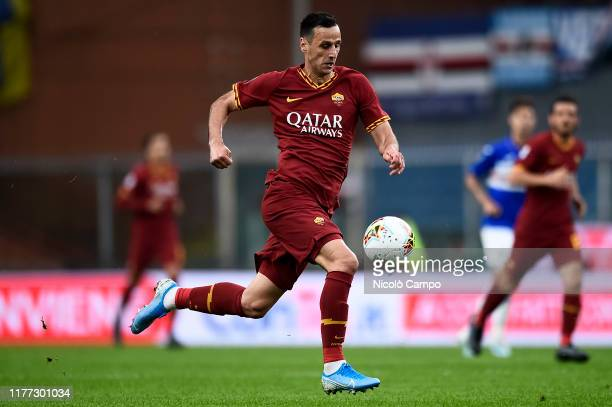 Nikola Kalinic of AS Roma in action during the Serie A football match between UC Sampdoria and AS Roma. The match ended in a 0-0 tie.