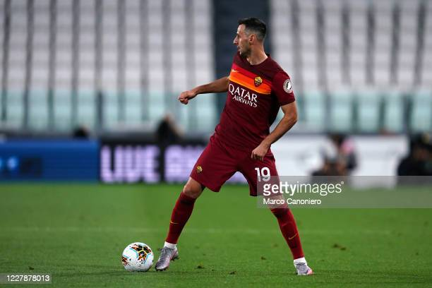 Nikola Kalinic of As Roma in action during the Serie A match between Juventus Fc and As Roma. As Roma wins 3-1 over Juventus Fc.