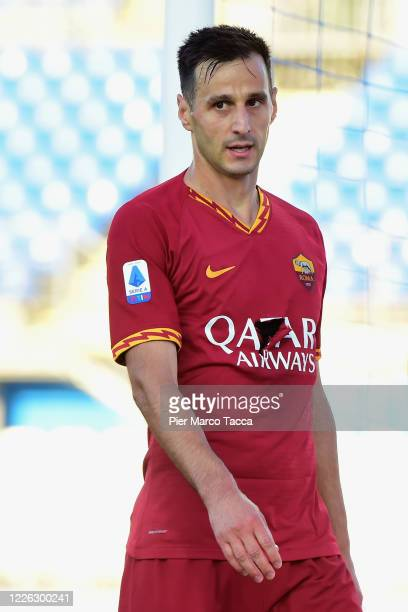 Nikola Kalinic of AS Roma looks during the Serie A match between Brescia Calcio and AS Roma at Stadio Mario Rigamonti on July 11, 2020 in Brescia,...