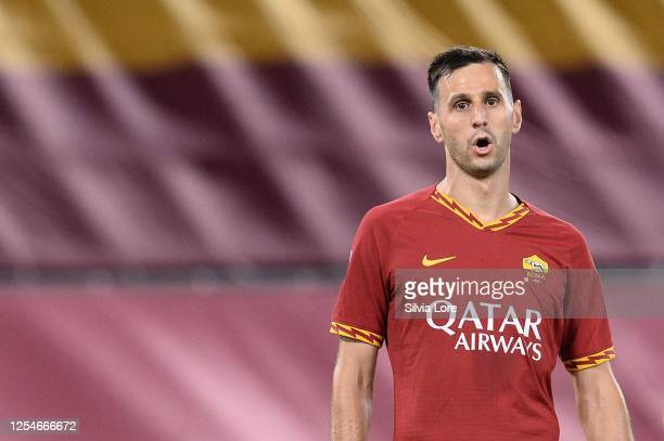 Nikola Kalinic of AS Roma reacts during the Serie A match between AS Roma and Udinese Calcio at Stadio Olimpico on July 02, 2020 in Rome, Italy.