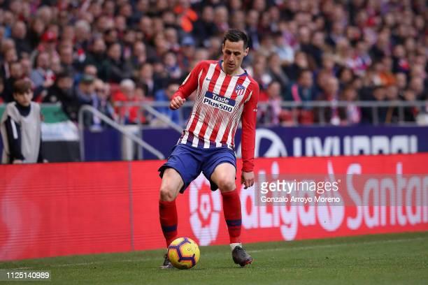 Nikola Kalinic of Atletico de Madrid controls the ball during the La Liga match between Club Atletico de Madrid and Getafe CF at Wanda Metropolitano...
