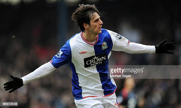 Nikola Kalinic of Blackburn celebrates scoring the first goal during the Barclays Premier League match between Blackburn Rovers and Bolton Wanderers...