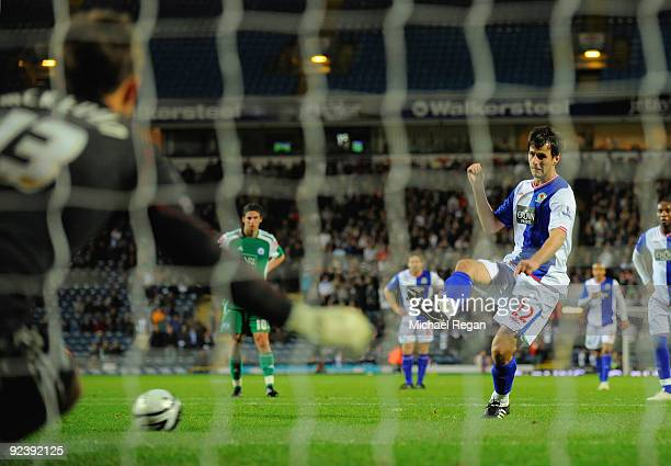 Nikola Kalinic of Blackburn scores a penalty to make it 5-2 during the Carling Cup 4th Round match between Blackburn Rovers and Peterborough United...