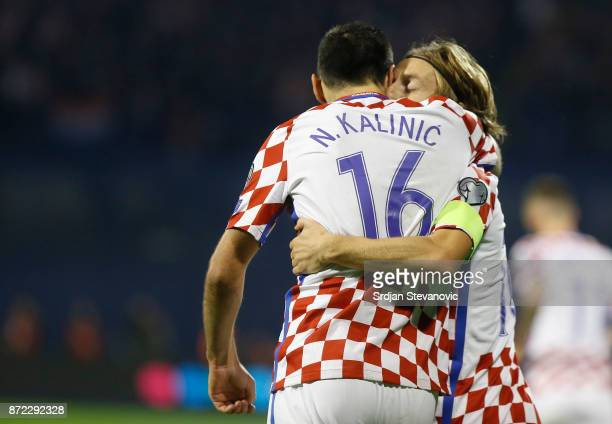 Nikola Kalinic of celebrates with Luka Modric of Croatia during the FIFA 2018 World Cup Qualifier PlayOff First Leg between Croatia and Greece at...