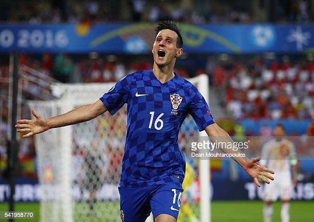 Nikola Kalinic of Croatia celebrates scoring his team's first goal during the UEFA EURO 2016 Group D match between Croatia and Spain at Stade Matmut...