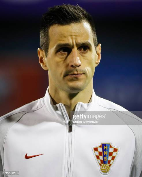 Nikola Kalinic of Croatia looks on prior to the FIFA 2018 World Cup Qualifier PlayOff First Leg between Croatia and Greece at Stadion Maksimir on...