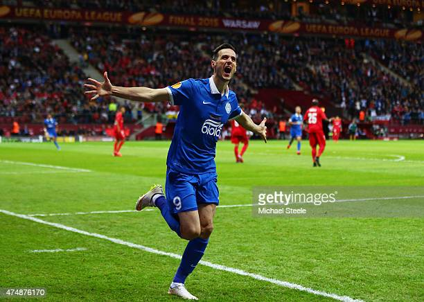 Nikola Kalinic of Dnipro celebrates scoring the opening goal during the UEFA Europa League Final match between FC Dnipro Dnipropetrovsk and FC...