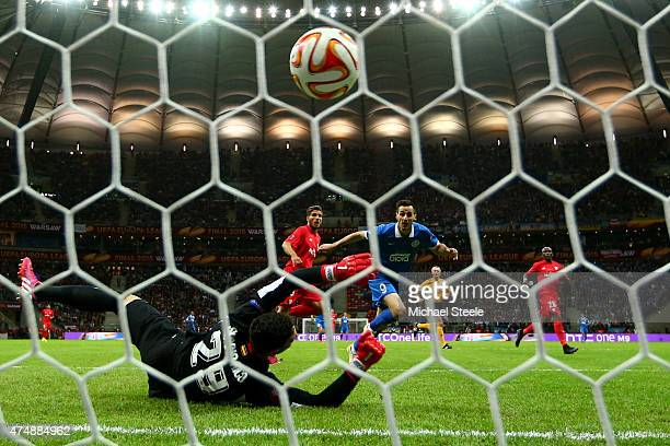 Nikola Kalinic of Dnipro scores the opening goal during the UEFA Europa League Final match between FC Dnipro Dnipropetrovsk and FC Sevilla on May 27...