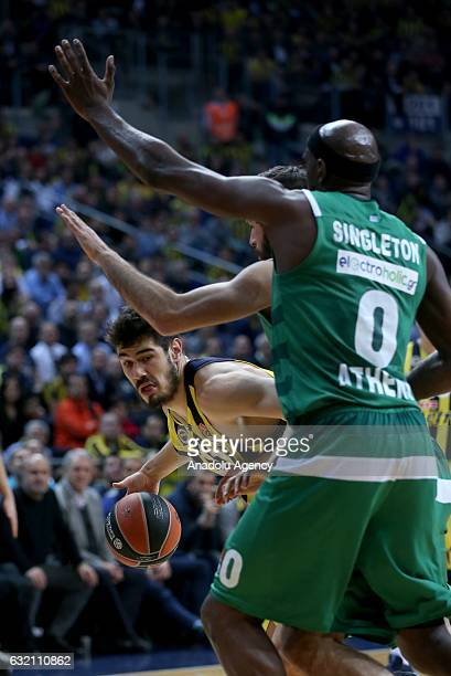 Nikola Kalinic of Fenerbahce in action against Chris Singleton of Panathinaikos Superfoods during the Turkish Airlines Euroleague 18th week game...