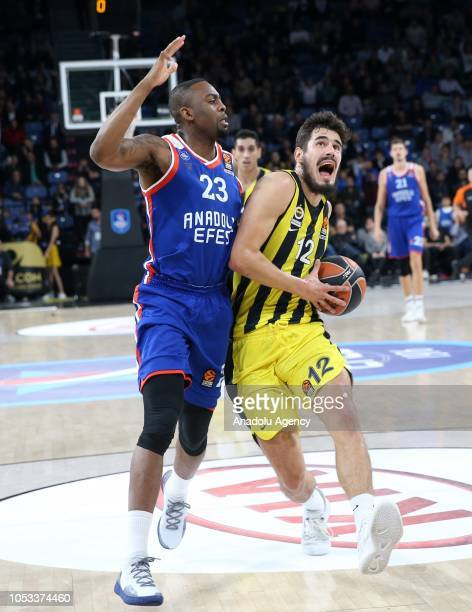 Nikola Kalinic of Fenerbahce in action against James Anderson of Anadolu Efes during Turkish Airlines Euroleague basketball match between Anadolu...