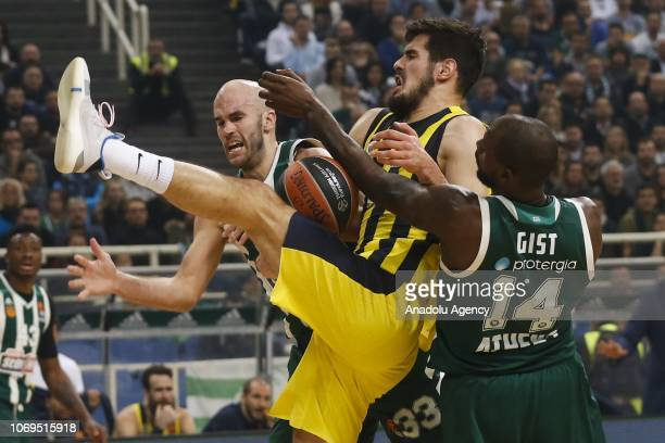 Nikola Kalinic of Fenerbahce in action against Nick Calathes and James Gist of Panathinaikos during Turkish Airlines Euroleague basketball match...