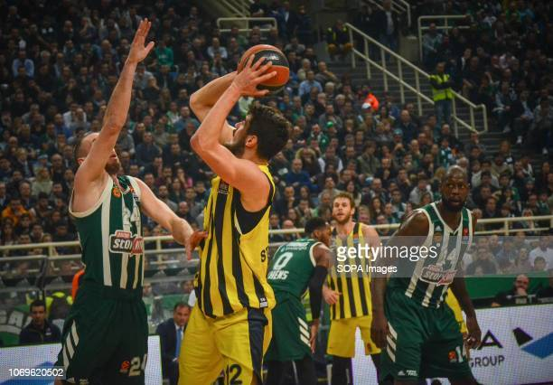Nikola Kalinic of Fenerbahce seen in action during the Euroleague basketball game between Panathinaikos BC v Fenerbachce at Olympic Sports Center...