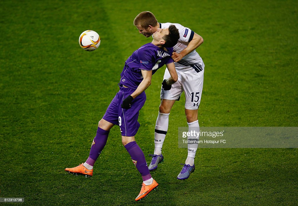 Nikola Kalinic of Fiorentina and Eric Dier of Tottenham Hotspur compete for the ball during the UEFA Europa League round of 32, second leg match between Tottenham Hotspur and Fiorentina at White Hart Lane on February 25, 2016 in London, United Kingdom.