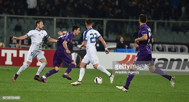Nikola Kalinic of Fiorentina in action against Vladimir Coufal of Slovan Liberec during the UEFA Europa League Group J football match between...