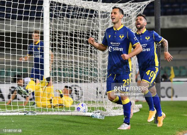 Nikola Kalinic of Hellas Verona F.C. Celebrates after scoring his team's second goal during the Serie A match between Hellas Verona FC and Bologna FC...