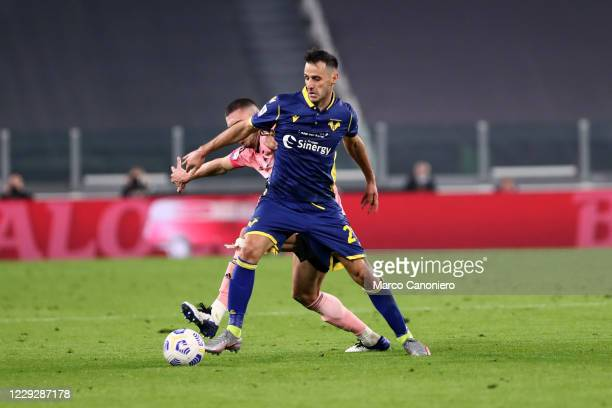 Nikola Kalinic of Hellas Verona Fc in action during the Serie A match between Juventus Fc and Hellas Verona Fc. The match end in a tie 1-1.