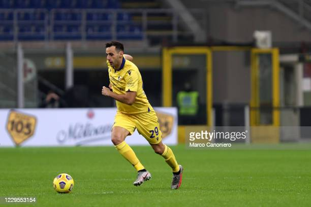 Nikola Kalinic of Hellas Verona Fc in action during the Serie A match between Ac Milan and Hellas Verona Fc. The match end in a tie 2-2.