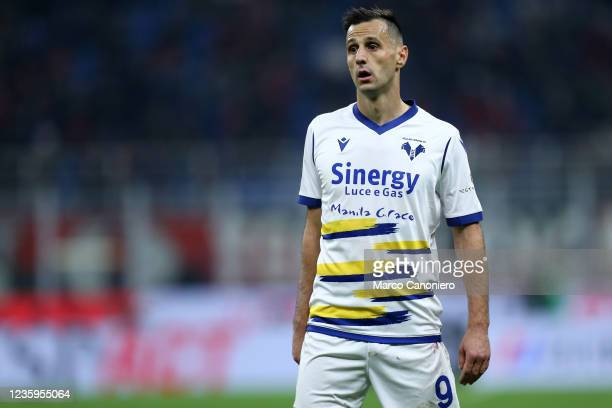 Nikola Kalinic of Hellas Verona Fc looks on during the Serie A match between Ac Milan and Hellas Verona Fc. Ac Milan wins 3-2 over Hellas Verona Fc.