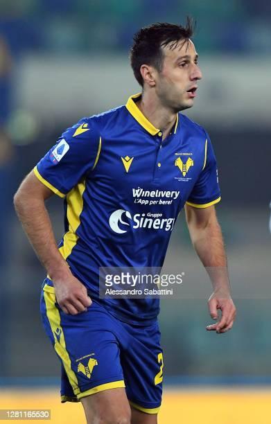Nikola Kalinic of Hellas Verona in action during the Serie A match between Hellas Verona FC and Genoa CFC at Stadio Marcantonio Bentegodi on October...