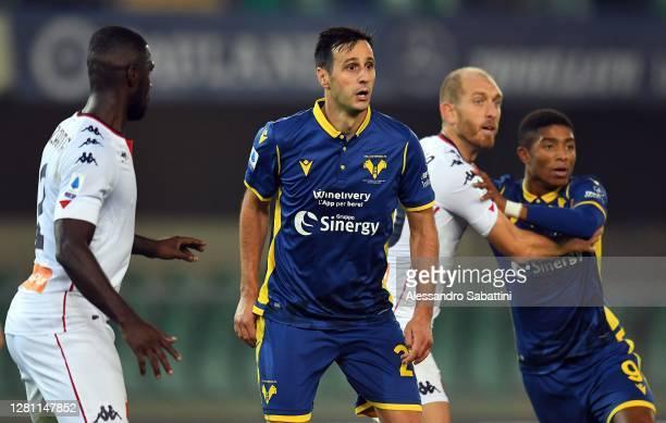 Nikola Kalinic of Hellas Verona looks on during the Serie A match between Hellas Verona FC and Genoa CFC at Stadio Marcantonio Bentegodi on October...
