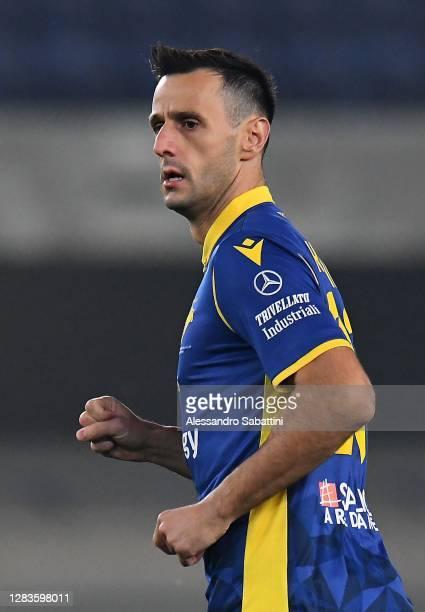 Nikola Kalinic of Hellas Verona looks on during the Serie A match between Hellas Verona FC and Benevento Calcio at Stadio Marcantonio Bentegodi on...