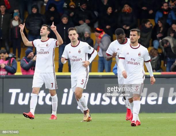 Nikola Kalinic of Milan celebrates after scoring his team's second goal during the Serie A match between Benevento Calcio and AC Milan at Stadio Ciro...