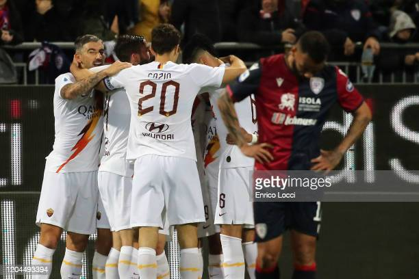 Nikola Kalinic of Roma celebrates his goal 12 during the Serie A match between Cagliari Calcio and AS Roma at Sardegna Arena on March 1 2020 in...