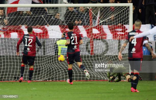 Nikola Kalinic of Roma scores his goal 1-2 during the Serie A match between Cagliari Calcio and AS Roma at Sardegna Arena on March 1, 2020 in...