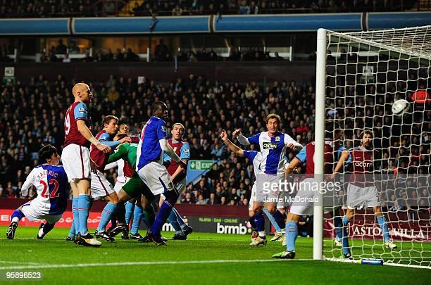 Nikola Kalinic scores a goal for Blackburn Rovers during the Carling Cup SemiFinal second leg match between Aston Villa and Blackburn Rovers at Villa...