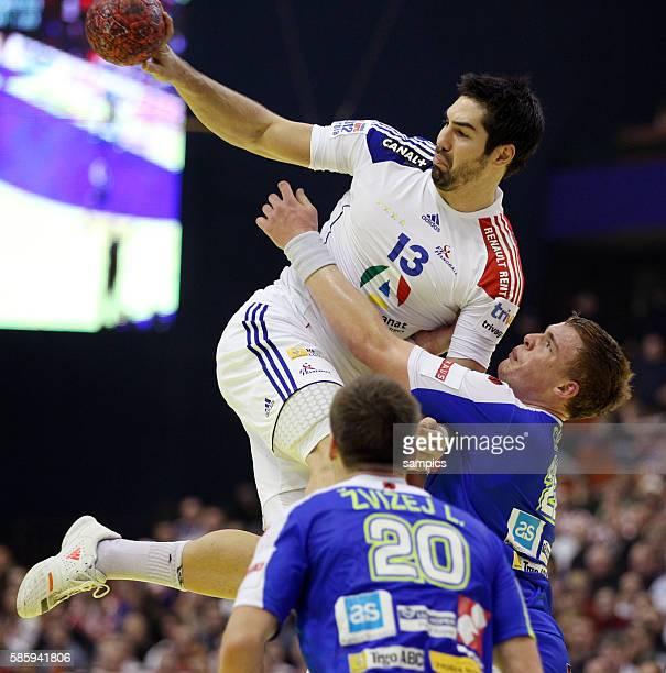 Nikola KARABATIC , Matej GABER Handball Männer Europameisterschaft 2012 in Serbien Hauptrunde : Frankreich - Slowenien 10 th mens european...