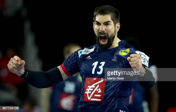 Nikola Karabatic of France celebrates during the Men's Handball European Championship main round match between Sweden and France at Arena Zagreb on...