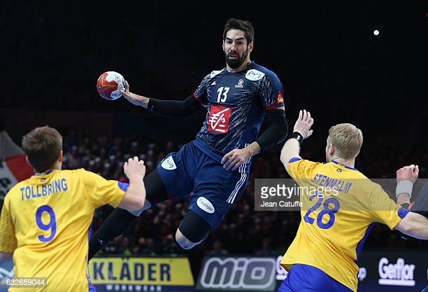 Nikola Karabatic of France in action during the 25th IHF Men's World Championship 2017 Quarter Final match between France and Sweden at Stade Pierre...