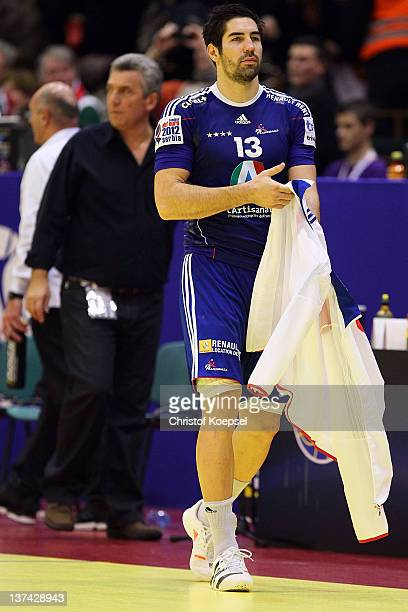 Nikola Karabatic of France looks dejected after the Men's European Handball Championship group C match between France and Hungary at Spens Arena on...