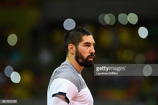 Nikola Karabatic of France looks on during the Men's Quarterfinal Handball contest at Future Arena on Day 12 of the Rio 2016 Olympic Games on August...