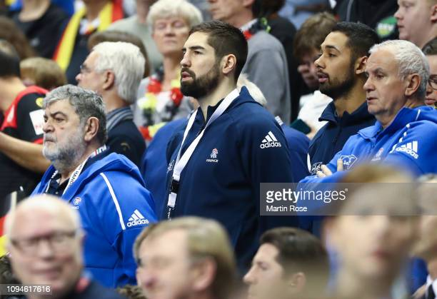 Nikola Karabatic of France looks on from the stands during the 26th IHF Men's World Championship group A match between Germany and France at...