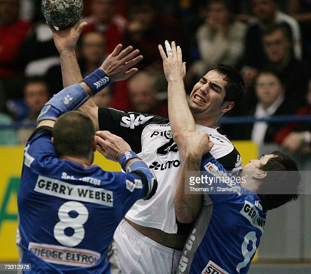 Nikola Karabatic of Kiel in action during the Handball DHB Cup game between TBV Lemgo and THW Kiel at the Lipperland Hall on February 13 2007 in...