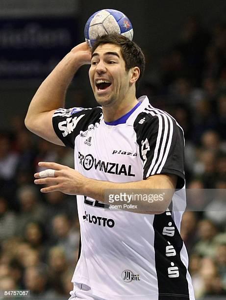 Nikola Karabatic of Kiel is seen during the Toyota Handball Bundesliga match between SC Magdeburg and THW Kiel at the Boerdeland hall on February 10...