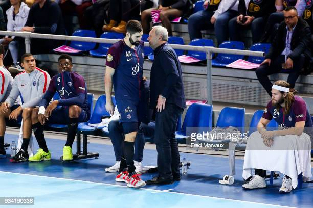 Nikola Karabatic of Paris Saint Germain and Zvonimir Serdarusic assistant coach of Paris Saint Germain during the League Cup semi final match between...