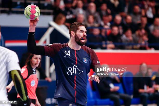 Nikola Karabatic of Paris Saint Germain is calling a play during the Lidl Starligue match between Paris Saint Germain Handball and Montpellier...