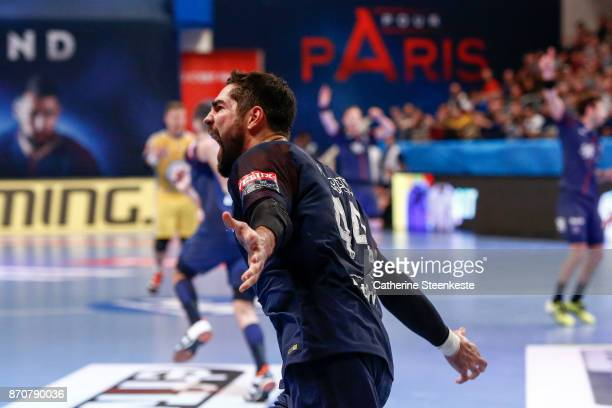 Nikola Karabatic of Paris Saint Germain is reacting to a play during the Champions League match between Paris Saint Germain and PGE Vive Kielce at...