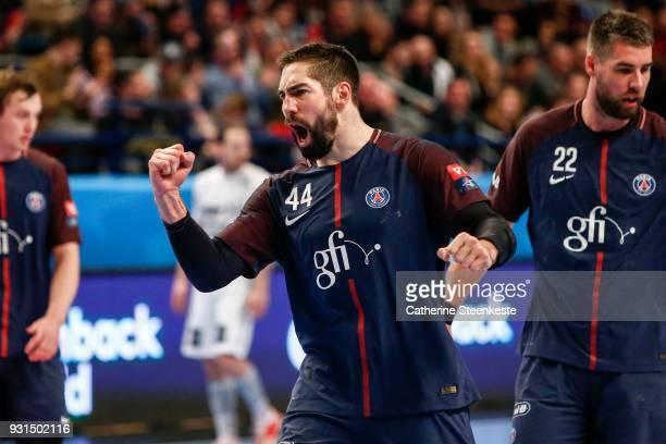 Nikola Karabatic of Paris Saint Germain is reacting to a play during the Champions League match between Paris Saint Germain and THW Kiel at Stade...