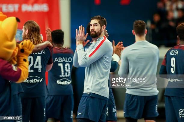 Nikola Karabatic of Psg celebrates during the French Cup match between Paris Saint Germain and Tremblay en France at Stade Pierre de Coubertin on...