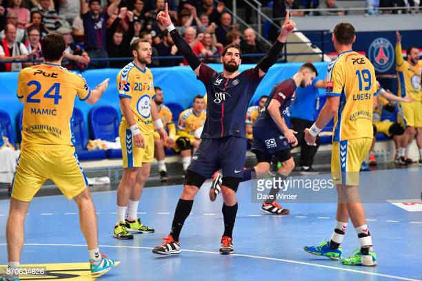 Nikola Karabatic of PSG celebrates scoring during the Champions League match between Paris Saint Germain and Kielce on November 5 2017 in Paris France